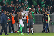 Brothers Saint-Etienne Defender Florentin Pogba and Paul Pogba Midfielder of Manchester United applaud the fans during the Europa League match between Saint-Etienne and Manchester United at Stade Geoffroy Guichard, Saint-Etienne, France on 22 February 2017. Photo by Phil Duncan.
