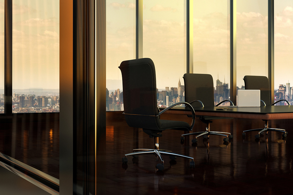 3D rendering of an empty Boardroom in Office Building, with view of New York City through windows, New York, USA