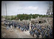 """Colorized photographs soldiers from the World War One<br /> <br /> With his impressive colorized photographs of the World War One, Frédéric Duriez gives us a new look at the conflict that ravaged the world between 1914 and 1918, revealing the difficult daily life of the French soldiers. <br /> <br /> Photo Shows: """"Clermont en Argonne July 17, 1915 .<br /> Regiment returning from the trenches.<br /> These men return from fighting the Battle of the Argonne ( 13 to 20 July) . During the German attack, the French losses are huge. For example, the 4th Infantry Regiment lost 26 officers and 1,341 men during this period.<br /> ©Frédéric Duriez/Exclusivepix Media"""