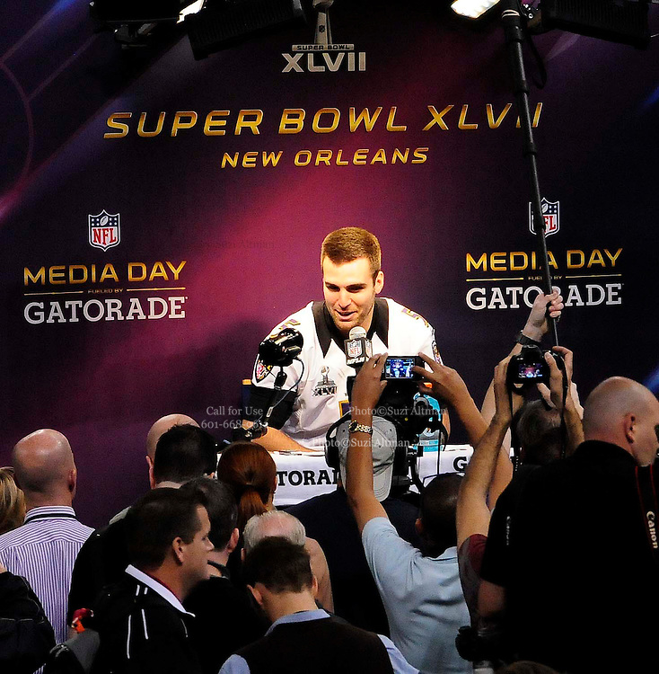1/29/13 New Orleans LA.-Baltmore Ravens, QB Joe Flaco speaks to the world press at Super Bowl XLV11 Media Day at the the Mercedes Benz Super Dome for the NFC champion San Francisco 49ers's and the AFC Champions  Baltimore Ravens  prior to Super Bowl XLV11 in New Orleans. Photo©Suzi Altman
