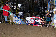 Belgium, Sunday 13th December 2015: The first rider up the steep muddy climb fell at the top on the first lap of  the Hansgrohe Superprestige cyclocross elite men's race at Spa Francorchamps.<br /> <br /> Copyright 2015 Peter Horrell