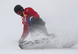 Great Britain's Jamie Nicholls in run 1 of qualification for Men's Snowboard Slopestyle the PyeongChang 2018 Winter Olympic Games in South Korea.