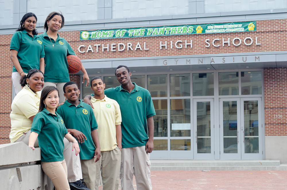 Cathedral High School Students outside their school in Boston's South End.