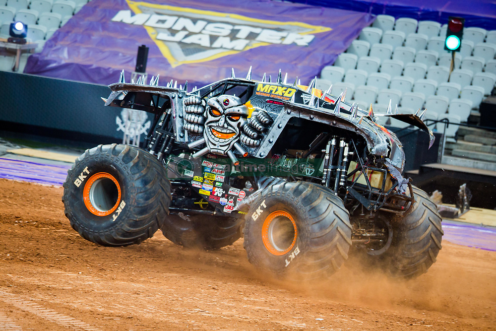 December 16, 2017 - Sao Paulo, Sao Paulo, Brazil - Max-D,  in action during a round of racing. Monster Jam was held at Corinthians Stadium, in Sao Paulo, Brazil. (Credit Image: © Paulo Lopes via ZUMA Wire)