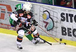 Matej Hocevar and Mitja Robar at 39th Round of EBEL League ice hockey match between HDD Tilia Olimpija and HK Acroni Jesenice, on December 30, 2008, in Arena Tivoli, Ljubljana, Slovenia. Tilia Olimpija won 4:3. (Photo by Vid Ponikvar / SportIda).