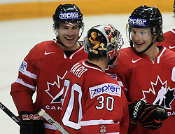 Team Canada celebrates at play-off round quarterfinals ice-hockey game Norway vs Canada at IIHF WC 2008 in Halifax,  on May 14, 2008 in Metro Center, Halifax, Nova Scotia,Canada. (Photo by Vid Ponikvar / Sportal Images)