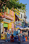 Colourful houses, shops and cafes in the historic La Boca district of Buenos Aires, Argentina. .
