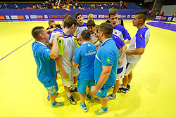 Young Slovenian handball team after winning Croatia at 12th European Youth Olympic Summer Festival in Utrecht, Netherlands on July 16, 2013 in Utrecht, Netherland. (Photo by Peter Kastelic / Sportida.com)