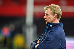 Leinster's Head Coach Leo Cullen<br /> <br /> Photographer Craig Thomas/Replay Images<br /> <br /> Guinness PRO14 Round 18 - Ospreys v Leinster - Saturday 24th March 2018 - Liberty Stadium - Swansea<br /> <br /> World Copyright © Replay Images . All rights reserved. info@replayimages.co.uk - http://replayimages.co.uk