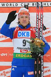 Winner Maxim Tchoudov (RUS) at Men 20 km Individual at E.ON Ruhrgas IBU World Cup Biathlon in Hochfilzen (replacement Pokljuka), on December 18, 2008, in Hochfilzen, Austria. (Photo by Vid Ponikvar / Sportida)