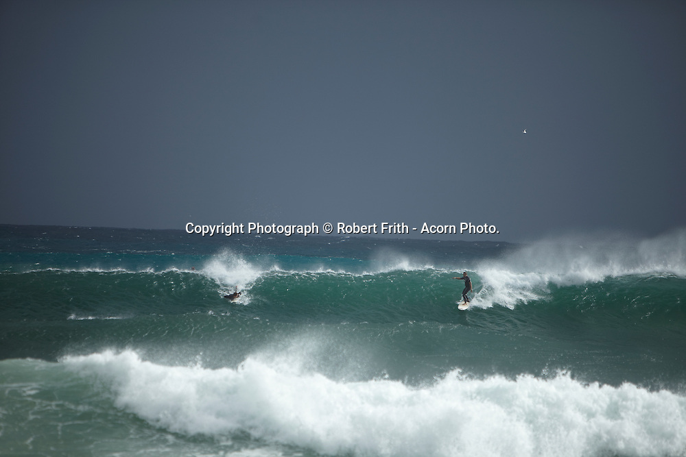 Injidup Beach on a wild and woolly winter's day. This beach is one of the easiest good surf breaks to access in the area