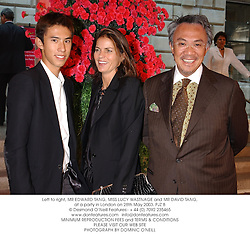 Left to right, MR EDWARD TANG, MISS LUCY WASTNAGE and MR DAVID TANG, at a party in London on 28th May 2003.PJZ 8