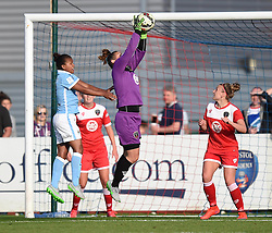 Bristol Academy's Mary Earps secures the ball - Photo mandatory by-line: Paul Knight/JMP - Mobile: 07966 386802 - 18/07/2015 - SPORT - Football - Bristol - Stoke Gifford Stadium - Bristol Academy Women v Manchester City Women - FA Women's Super League