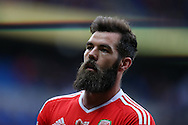 Joe Ledley of Wales looks on. Wales v Georgia , FIFA World Cup qualifier, European group D match at the Cardiff city Stadium in Cardiff on Sunday 9th October 2016. pic by Andrew Orchard, Andrew Orchard sports photography