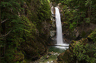 Cascade Falls view from the main viewing platform in Cascade Falls Regional Park near Misson, British Columbia, Canada