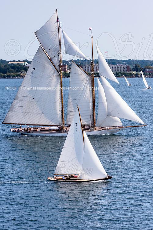 Falcon and Eleonora sailing in the Panerai Newport Classic Yacht Regatta.