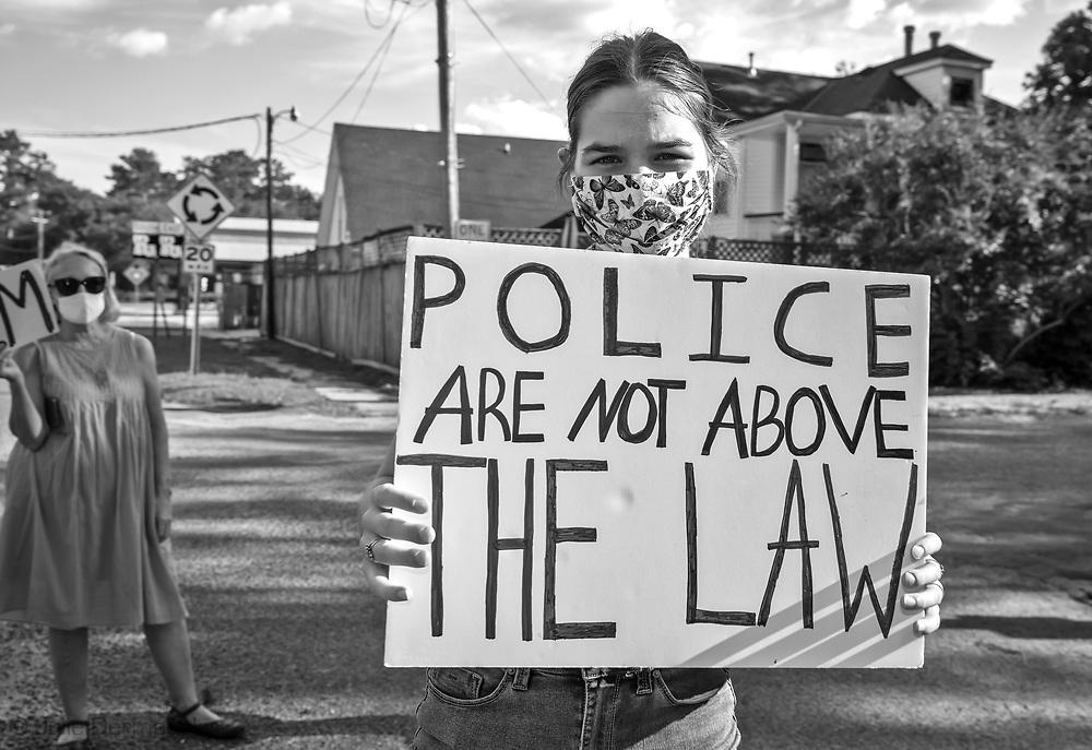 George Floyd solidarity protest in Abita Springs LA on June 13, 2020.