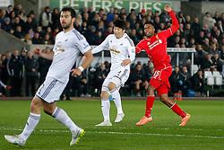 Daniel Sturridge of Liverpool looks frustrated as his shot goes wide - Photo mandatory by-line: Rogan Thomson/JMP - 07966 386802 - 16/03/2015 - SPORT - FOOTBALL - Swansea, Wales — Liberty Stadium - Swansea City v Liverpool - Barclays Premier League.