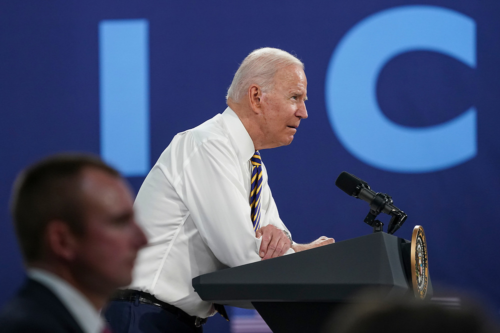 President Joe Biden delivers remarks July 28, 2021, following a tour of Mack Trucks Lehigh Valley Operations in Lower Macungie Township, Pennsylvania. The presidential visit was made to highlight the importance of American manufacturing, buying products made in America, and supporting good-paying jobs for American workers. (Photo by Matt Smith)