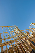 Vertical orientation view of wood frame construction with ample sky.