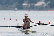 Poznan, POLAND. GBR LW1X, Imogen WALSH, with a wopple moment as she pulls away from the start  in her  heat in the women's lightweight single sculls, at the 2015 FISA European Rowing Championships. Venue, Lake Malta. Saturday 30.05.2015. [Mandatory Credit: Peter Spurrier/Intersport Images] .   Empacher.