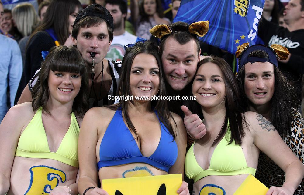 Highlanders fans in bikini's salute their team.<br /> Investec Super Rugby - Highlanders v Bulls, 19 May 2012, Forsyth Barr Stadium, Dunedin, New Zealand.<br /> Photo: Rob Jefferies / photosport.co.nz