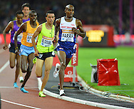 Mo Farah leading the mens 3000m at the Sainsbury's Anniversary Games at the Queen Elizabeth II Olympic Park, London, United Kingdom on 24 July 2015. Photo by Mark Davies.
