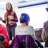 """011814       Cable Hoover<br /> <br /> Author and journalist Sherry Robinson presents her research for her new book """"I Fought a Good Fight: A History of the Lipan Apaches"""" to an audience at Octavia Fellin Public Library Saturday. Robinson is also a contributor to the Independent."""