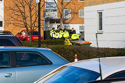 Police advise local residents at Galliion's Reach of the situation where an unexploded World War 2 bomb has been discovered adjacent to London City Airport. Residents further away from the site are not being evacuated, but are advised to stay away  London, February 12 2018.