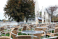 The Champagne Bar seating area is empty owing to the bad weather prior to the Countryside Raceday, October Finale at York Racecourse, York, United Kingdom on 12 October 2018. Pic Mick Atkins