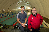 "Swimmer Ian THORPE (L) of Australia poses with his coach Guennadi Touretski, National Head Coach of Swiss Swimming, at the temporary covered 50m outdoor pool at the Centro sportivo nazionale della gioventu (""youth and sports""-Centre) in Tenero, Switzerland, Wednesday, March 16, 2011. Five-time Olympic gold medallist Ian Thorpe has finalised his coaching set-up ahead of next year's London Olympic Games, announcing today that he will link up with former Australian Institute of Sport Coach and Russian born Gennadi Touretski in Switzerland. (Photo by Patrick B. Kraemer / MAGICPBK)"