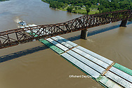 63807-01117 Barge on the Mississippi river crossing under the Thebes bridge Thebes, IL