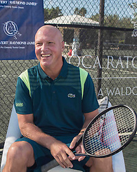 November 3, 2017 - Boca Raton, Florida, US - LUKE JENSEN, Tennis Coach and ambidextrous former tennis pro, at the Boca Raton Resort & Club prior to the 2017 Chris Evert/ Raymond James Pro Celebrity Tennis Classic. Chris Evert Charities has raised more than $23 million in an ongoing campaign for Florida's most at-risk children. (Credit Image: © Arnold Drapkin via ZUMA Wire)