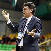 Anadolu Efes's coach Recep Sen during their Turkish Basketball League match Anadolu Efes between Antalya BSB at the Ayhan Sahenk Erdem Arena in Istanbul, Turkey, Sunday, February 24, 2013. Photo by Aykut AKICI/TURKPIX