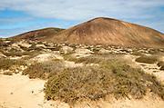 Inland sand dune landscape view towards Agujas Chicas volcano, La Isla Graciosa, Lanzarote, Canary Islands, Spain
