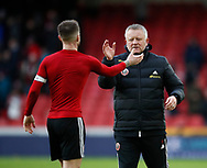 Oliver Norwood of Sheffield Utd celebrates with Chris Wilder manager of Sheffield Utd during the Premier League match at Bramall Lane, Sheffield. Picture date: 9th February 2020. Picture credit should read: Simon Bellis/Sportimage