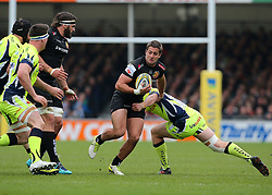Exeter Chiefs Santiago Corero is tackled during the Aviva Premiership match at Sandy Park, Exeter.