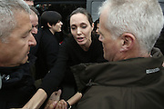 March 16, 2016 - Athens, Attica, Greece - <br /> <br /> Angelina Jolie Visits Refugee Camp in Greece<br /> <br /> American actress Angelina Jolie, the Special Envoy to the UN High Commissioner for Refugees (UNHCR), visited refugees and migrants at Piraeus port, near Athens, Greece, on March 16, 2016 <br /> ©Exclusivepix Media