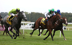 Buzz and Charlie Bennett (left, green silks) chase the leaders before going on to win The Dubai Duty Free Handicap Stakes Race run during day two of Dubai Duty Free International Weekend at Newbury Racecourse.