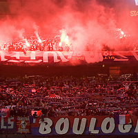 29 March 2008: Fans of the PSG light flares during the French League Cup final football  match won 2-1 by Paris Saint-Germain (PSG) over RC Lens, at the Stade de France in Saint-Denis, near Paris, France.