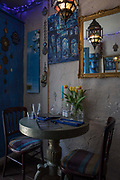 Interior of Cafe Moroc, a Moroccan cafe in Hastings old town, on the 20th April 2019 in Hastings in the United Kingdom. Hastings is a town on England's southeast coast, its known for the 1066 Battle of Hastings.
