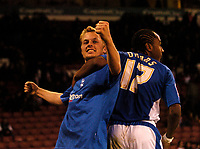 Photo: Jed Wee.<br /> Sheffield United v Birmingham City. Carling Cup. 24/10/2006.<br /> <br /> Birmingham's Sebastian Larsson (L) celebrates with Neil Danns.