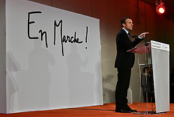 Former French Economy Minister and founder of political movement 'En marche!' (On the move!) Emmanuel Macron attending the meeting of local activity leaders of 'En marche!', held at Salons de l'Aveyron in Paris, France on November 5, 2016. Photo by Christian Liewig/ABACAPRESS.COM