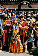 Nepalese dancers at cultural event in Bhaktapur, Nepal