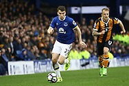 Seamus Coleman of Everton gets away from Kamil Grosicki of Hull City. Premier league match, Everton v Hull city at Goodison Park in Liverpool, Merseyside on Saturday 18th March 2017.<br /> pic by Chris Stading, Andrew Orchard sports photography.