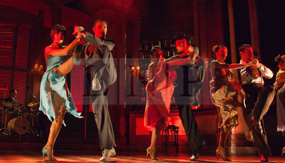"""© Licensed to London News Pictures. 30/01/2012. London, England. Flavia Cacace and Vincent Simone dancing (left). """"Midnight Tango"""" with """"Strictly Come Dancing"""" Stars Flavia Cacace and Vincent Simone opens at the Aldwych Theatre, London. Photo credit: Bettina Strenske/LNP"""