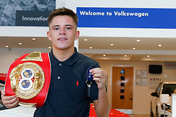 Pictured: IBF Youth Bantamweight Champion Lee McGregor secures a long term deal with local car suppliers VW Specialist Cars Fife. <br /> <br /> Colin Poultney | EEm 01/08/2018