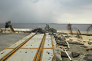The destroyde train bridge across the bay at Bay St. Louis pictured after Hurricane Katrina blew through town Thursday Sept. 1,2005.Katrina is the worst storm to ever hit American soil in history.(Photo/SuziAltman)