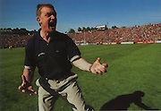 Tipperary manager Nicky English shows his relief on beating Clare in the 2001 Munster Final.