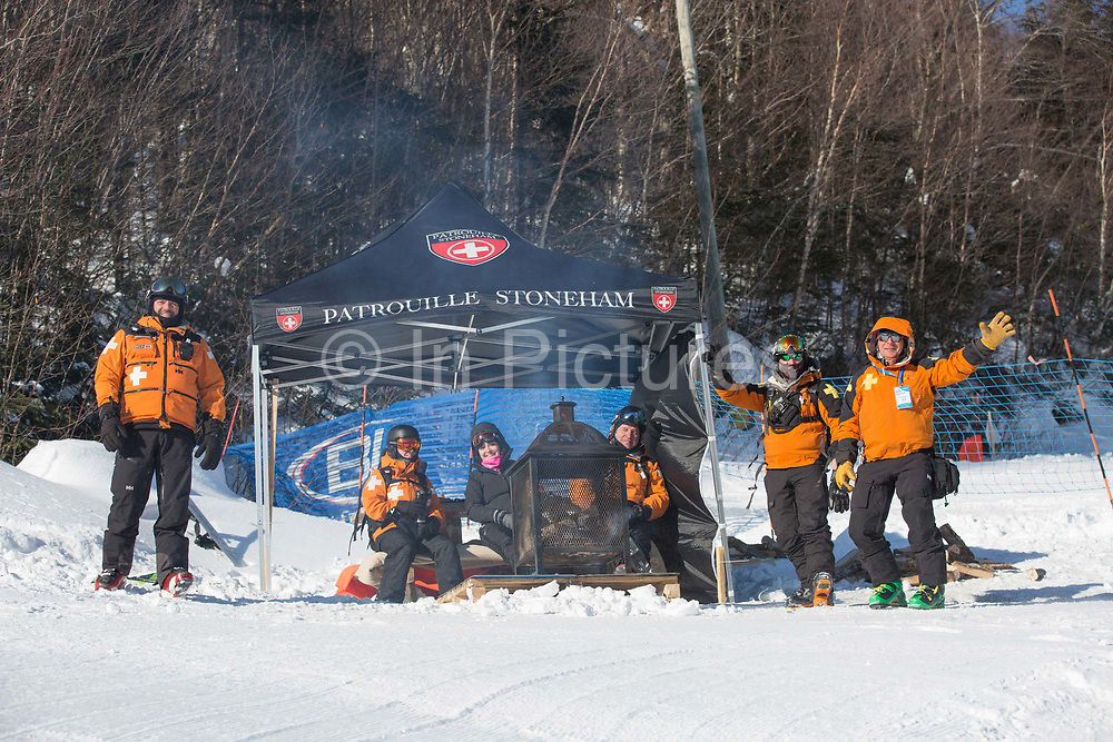 Canadian mountain resuce team on 10th February 2017 in Stoneham Mountain, Canada. The Canadian Jamboree is part of the ski and snowboard FIS World Cup circuit held in Quebec City and Stoneham Mountain.